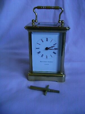 Vintage Matthew Norman 8 Day Timepiece Carriage Clock In Gwo Serviced June 2018