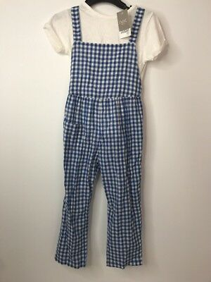 Next Girls Two Piece Outfit Age 3-4 Blue & White Checked