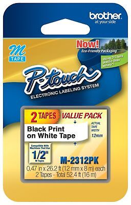 """Pack of 6 Genuine OEM Brother 2-PACK M231-2PK P-Touch Label Tape, 1/2"""" M-2312PK"""