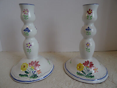 Two Handpainted Herend Hungary Porcelain Candle Holders / Candle Sticks / Mint