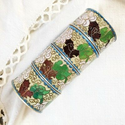 4 Vintage Chinese Cloisonne Enamelled Brass Napkin Rings Holders White Yellow