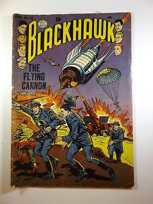 """Blackhawk #75 """"The Flying Cannon!"""" Solid Good+ Condition!!"""