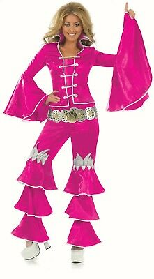 Ladies 70's Dancing Queen Pink fancy dress costume Music Mamma Mia Outfit Flares