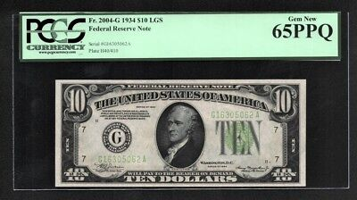 $10 1934 Federal Reserve Note LGS Chicago (G) PCGS Gem New 65PPQ