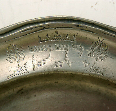 ANTIQUE 18thC PEWTER PLATE JUDAICA HEBREW INSCRIPTION PASSOVER SEDER GERMAN?