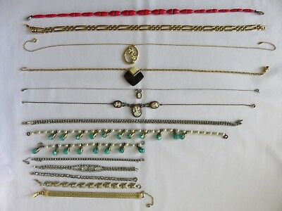 Vintage/Antique Necklaces/Bracelets Lot of 14 w/Cameo, Trifari, Goldette, Monet
