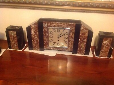 Art Deco marble mantle clock with side garniture
