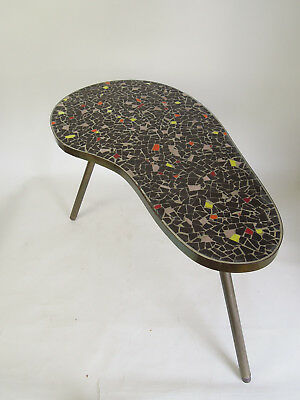 VINTAGE MOSAIC SIDE TABLE DANISH MID CENTURY MODERN PLANT STAND TERRAZZO 50s 60s
