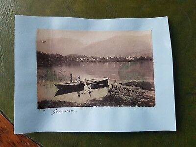 1870s Grasmere a Lady Boating and Swans  - Cumbria - photograph 9 by 5.5cm