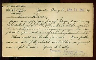 """1899 Martins Ferry,OH - Spence,Baggs & Co. """"Prize Stoves & Ranges"""" Postal Card"""