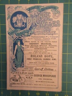 Prince of Wales theatre programme Sept 2nd 1901 The Second in Command