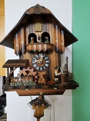 German Black Forest Musical Cuckoo Clock With Waterwheel & Dancers