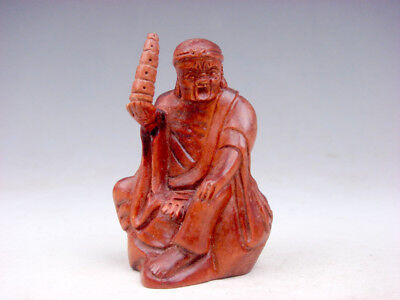 Boxwood Hand Carved Japanese Netsuke Arhat Buddha LuoHan Holds Tower #09231802
