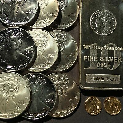 19 Ounces Of Silver And 2/10 Ounces Of Gold In 12 Coin And Bar Lot