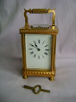 LARGE ANTIQUE FRENCH REPEATER CARRIAGE CLOCK c1890  + KEY ORNATE CASE