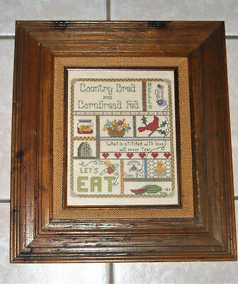"""Framed in distressed wooden frame Cross stitch.Country kitchen 15,5"""" X 17"""""""