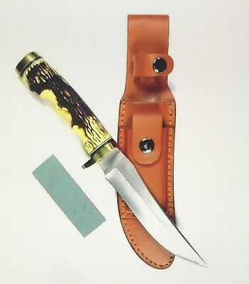 """RUKO 5"""" Blade Hunting Knife with Delrin Handle Leather Sheath + Sharpening Stone"""