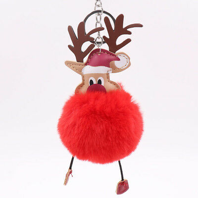 Christmas Fur Fluffy Keychain Pendant Key Ring Accessories Soft Gift Lovely