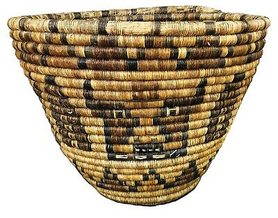 Antique c1930's Native American Hopi 2nd Mesa Large Coil Basket w/Kachina Faces
