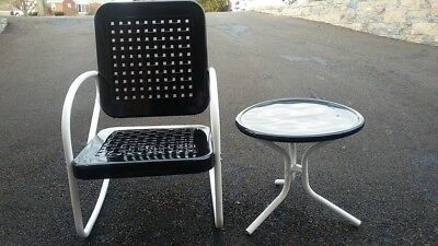 1950's Vintage Matching Black and White Basket Weave Metal Chair and Table
