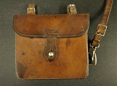 Antique English hunting leather meal pouch by J Dixon&Sons.(Flask & Box)