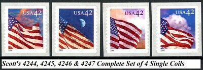 Flags 24/7 Complete Set of 4 MNH Scott's 4244 4245 4246 & 4247 on O/S Backing
