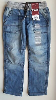 GEORGE toddler boy 3-4 years DENIM BLUE cotton lined JEANS elastic waist NEW