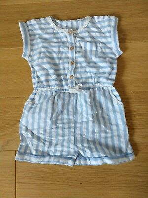 Blue And White Stripe Playsuit Matalan 12-18 Months