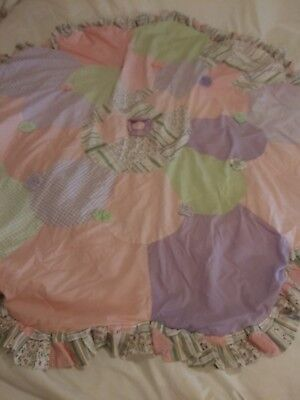 Vintage Inspired Patchwork  Nursery Round Baby Quilt w/ Scalloped Edges