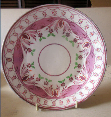 1800's Staffordshire  Antique Pink Luster Lustre Shallow Bowl