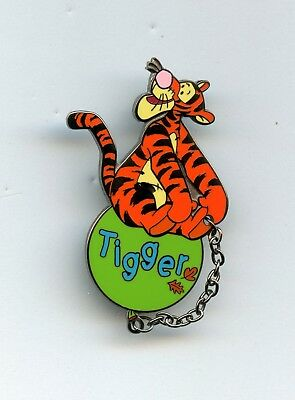 UK Disney Store - Winnie the Pooh Balloon Series Tigger Name Chained Pin 2003