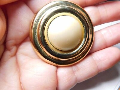 Vintage Round Gold Tone Metal Off White Faux Pearl Scarf Clip