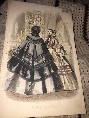 1860 Illman Brothers Les Modes Parisiennes Ladies In Victorian Dress With Color