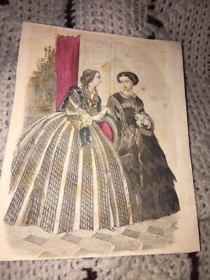 1860's LADIES IN VICTORIAN DRESS MAGAZINE PRINT SOME COLOR