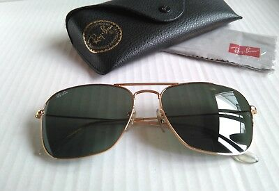 RAY BAN RB3136 CARAVAN Aviator 001 58-15 Green Classic G-15. Gold ... e4292e4c9673