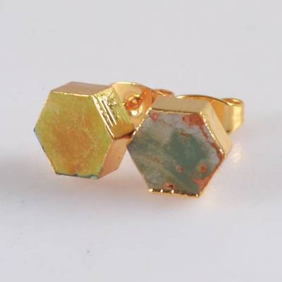 8mm Hexagon Natural Genuine Turquoise Stud Earrings Gold Plated H122809
