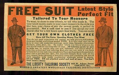 1915 The Liberty Tailoring Society Advertising Postal Card - Chicago,IL