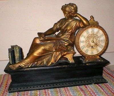 Antique French Figural Mantel Clock, Bronze Patinated, Key Wind, Non-Working