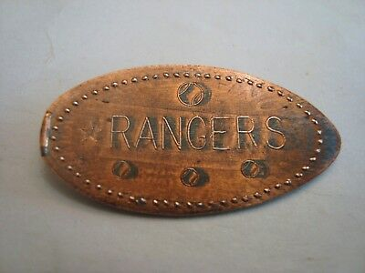 Baseball RANGERS - RS initials -- elongated zinc penny