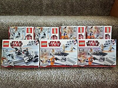 Lot of 7 LEGO Star Wars Trooper Battle 8083 & Snowtrooper Battle Pack 8084 NISB