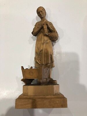 VTG Hand Carved Wood Figure Mother and Child