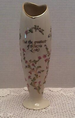"""Lenox USA """"But The Greatest of These is Love Vase Gold Trim Heart Shaped Opening"""