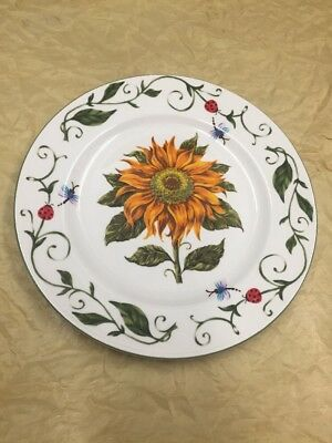 Tabletops Unlimited BOTANICAL GARDENS Sunflower Dinner Plate lady bugs butterfy