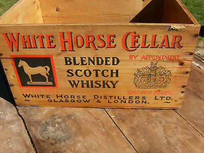 Vintage White Horse Cellar Blended Scotch Whisky Wooden Crate Great Color 1957