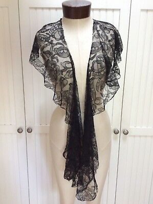 Antique Victorian Black Chantilly Lace Shawl & Embellished Tunic Lot