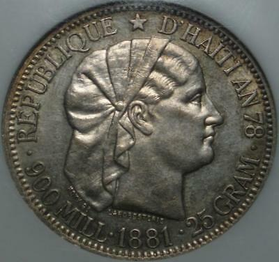 1881 NGC AU55 REPUBLIC of HAITI First Issue ONE GOURDE Tiny Mintage SILVER CROWN