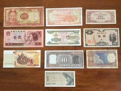 10 mixed Asian bank notes.