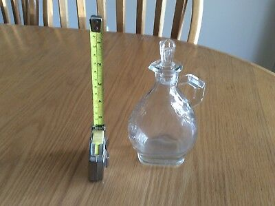 1932 Cruet, 8 Ounce Depression Glass With Original Glass Stopper & Leaf Pattern