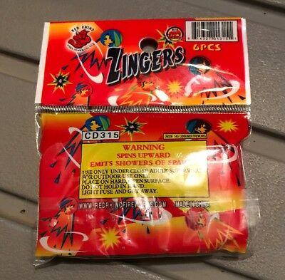 Zingers Zips Zaps Firework Label! Great Graphics Exciting Effects.
