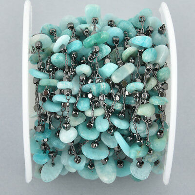 1 yard AMAZONITE Rosary Chain, gunmetal links, gemstone chips beads, fch1057a